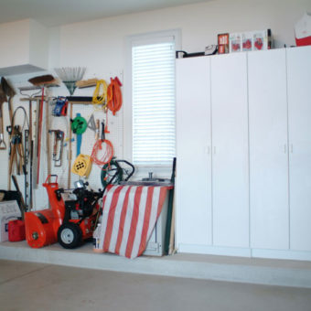 Built in large garage storage cabinets