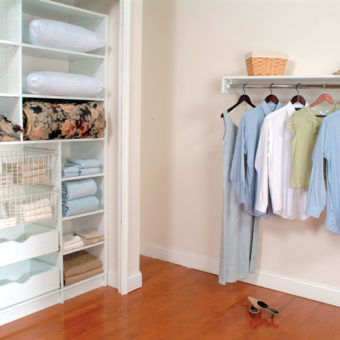 Built in closet shelving for linens