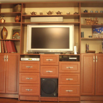 Built in media center with bookshelf and speaker storage