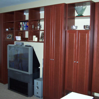 Built in media center wall unit with custom cabinetry