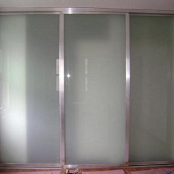 White laminate sliding closet doors