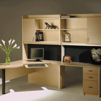 Custom desk with shelves and drawers for office