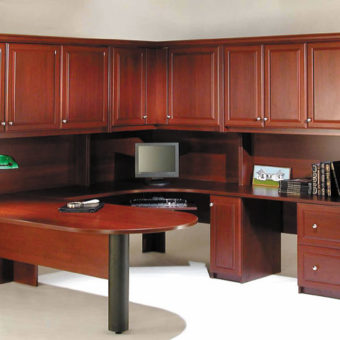 Large office desk with cabinets and drawers