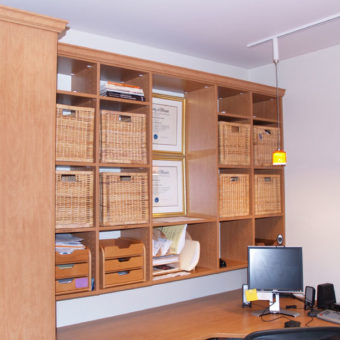 Built in home office wall unit with organizers and bookshelf