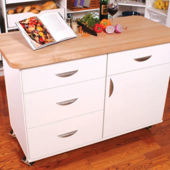 Custom kitchen island with rollers and butcher's block counter
