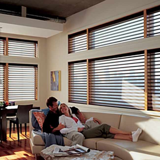 Hunter Douglas wooden blinds in open concept home