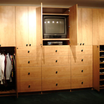 Large custom built in wall unit with wardrobe and media center
