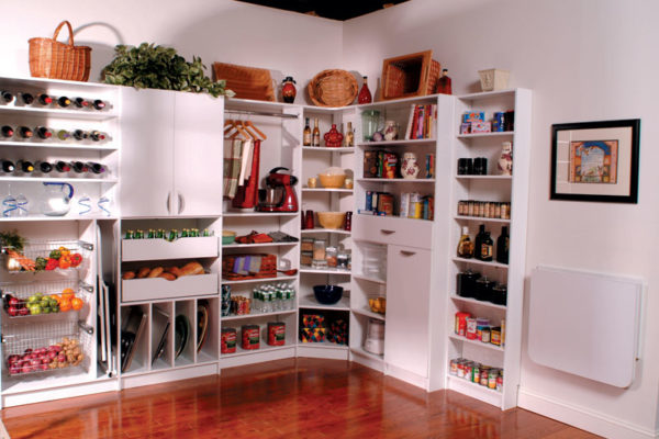 Custom kitchen storage and cupboard unit with shelving and drawers