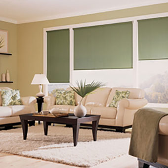 Hunter Douglas roller shades in custom living room window treatment
