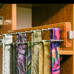 Custom tie rack in bedroom walk in closet