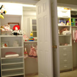 Two custom kid's reach-in closets with built in shelving and hanging rods