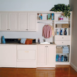 Custom built in cabinetry and storage for laundry room