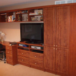 Built in media center, wardrobe, and home office unit