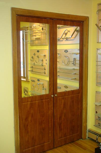 Pivot summer flame wooden panel doors with mirror inset