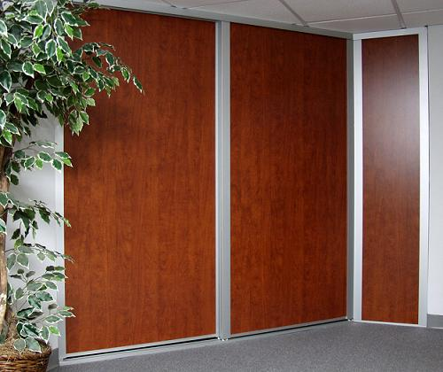 Sliding wooden summer flame closet doors with stationary panel