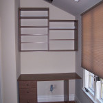 Built in home office desk and shelving unit
